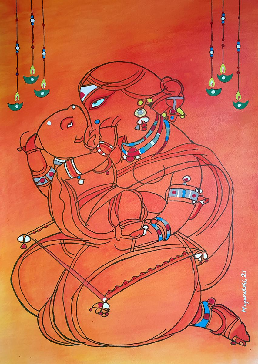 Ganesh Janani by Mayurakshi, Illustration Painting, Gouache on Paper, Orange color