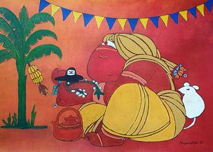 Ganesha - I I by Mayurakshi, Expressionism Painting, Gouache on Paper, Maroon color