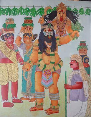 Telangana Bonalu by Narahari Bhawandla, Illustration Painting, Acrylic on Canvas, Purple color