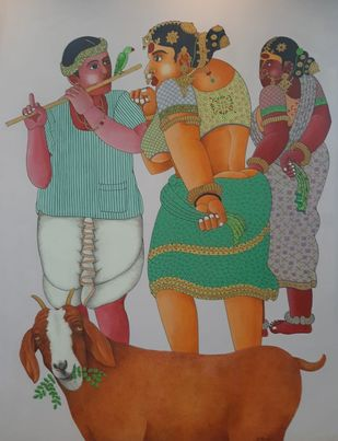 Rural Women and Men by Narahari Bhawandla, Expressionism Painting, Acrylic on Canvas, Silver color
