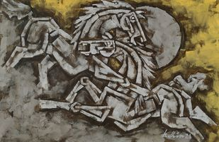 Horses 5 by Balbir Singh, Cubism Painting, Acrylic on Canvas, Gray color