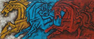 The three Horses by Balbir Singh, Cubism Painting, Acrylic on Canvas, Gray color