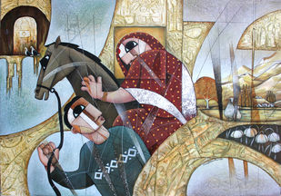 THE JOURNEY by NAGESWARA RAO, Cubism Painting, Oil Pastel on Canvas, Silver color