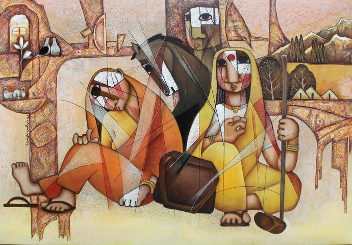 THE JOURNEY by NAGESWARA RAO, Cubism Painting, Oil Pastel on Canvas, Orange color