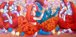 KRISHNA LEELA by Sekhar Roy, Expressionism Painting, Acrylic on Canvas, Maroon color