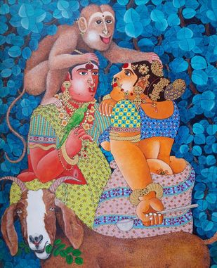 Rural Women and a monkey by Narahari Bhawandla, Expressionism Painting, Acrylic on Canvas, Maroon color