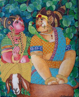 Rural Women and a parrot by Narahari Bhawandla, Expressionism Painting, Acrylic on Canvas, Gray color