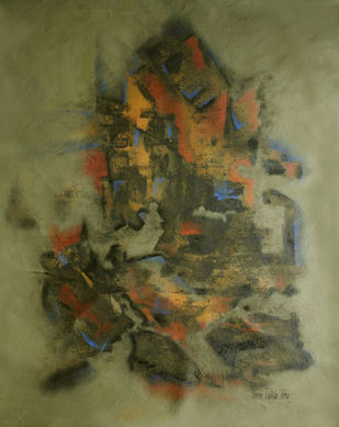 GANESHA by Poonam Rana, Abstract Painting, Acrylic on Canvas, Olive color
