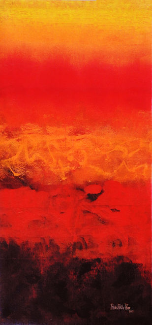 SUNRISE by Poonam Rana, Abstract Painting, Acrylic on Canvas, Red color