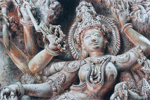 Closeup Drawing of Indian Goddess Sculpture by Muralidhar Suvarna, Illustration, Realism Drawing, Color Pencil on Paper, Silver color