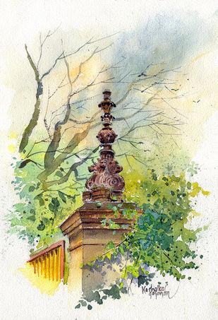 Lamp post by Gajanan Kashalkar, Illustration Painting, Watercolor on Paper, Lime color
