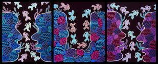 Gossip by Revati Gangal, Decorative Painting, Acrylic on Canvas, Black color