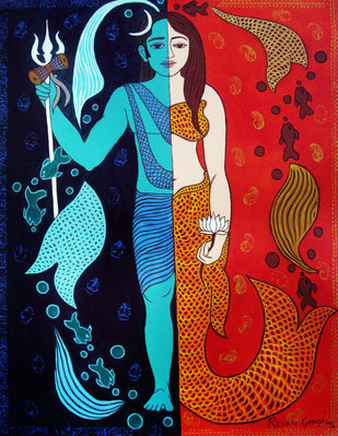 Ardhanareshwara by Revati Gangal, Illustration Painting, Acrylic on Canvas, Black color