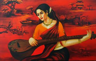 sumitra by Anand Dharmadhikari, Illustration Painting, Acrylic on Canvas, Maroon color