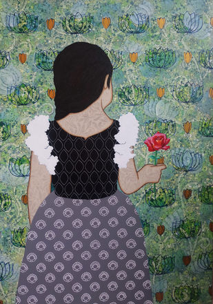 red rose by Monica Ghule, Illustration Painting, Acrylic on Canvas, Gray color