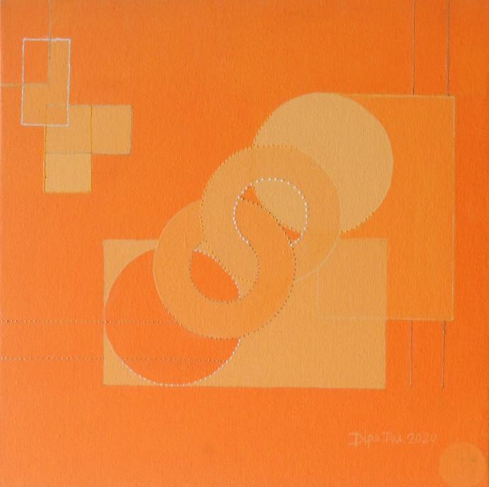 Moon by Dipa Das, Geometrical Painting, Acrylic on Canvas, Orange color