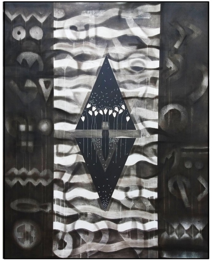 Untitled N8 by Narendra Jatav, Abstract Painting, Charcoal and Acrylic on Canvas, Gray color