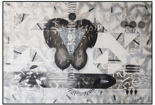 Untitled N47 by Narendra Jatav, Abstract Painting, Charcoal and Acrylic on Canvas, Silver color