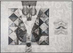 Untitled N50 by Narendra Jatav, Abstract Painting, Charcoal and Acrylic on Canvas, Silver color