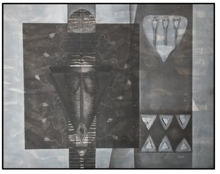 Untitled N10 by Narendra Jatav, Abstract Painting, Charcoal and Acrylic on Canvas, Gray color