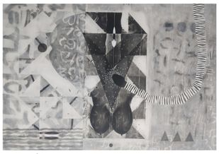 Untitled N44 by Narendra Jatav, Abstract Painting, Charcoal and Acrylic on Canvas, Silver color