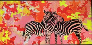 Zebra by Gita Jain, Illustration Painting, Mixed Media on Canvas, Red color