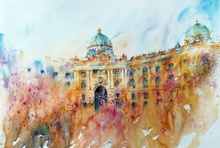 Hofburg Palace by Nisha Sehjpal, Expressionism Painting, Watercolor on Paper, Silver color