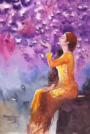 Pink Magic by Mopasang Valath, Illustration Painting, Watercolor on Paper, Purple color