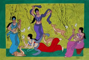 Shakuntala with Friends by Chetan Katigar, Expressionism Painting, Acrylic on Canvas, Olive color