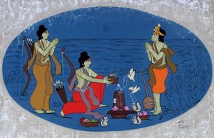 Ram worshipping Lord Shiva by Chetan Katigar, Expressionism Painting, Acrylic on Canvas, Teal color