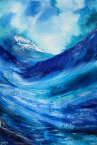 Splash of Life by Tvesha Singh, Abstract Painting, Acrylic on Canvas, Teal color