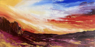 Fiery Skies by Tvesha Singh, Abstract Painting, Acrylic on Canvas, Orange color