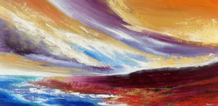 Harmony by Tvesha Singh, Abstract Painting, Acrylic on Canvas, Purple color