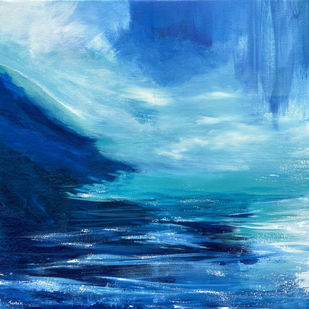 Solitude and Peace by Tvesha Singh, Abstract Painting, Acrylic on Canvas, Teal color