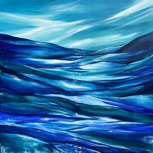 Dancing Waves by Tvesha Singh, Abstract Painting, Acrylic on Canvas, Teal color
