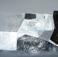 Black and White by Deepali S, Abstract Painting, Acrylic on Canvas, Silver color