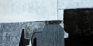 Black and White by Deepali S, Abstract Painting, Acrylic on Canvas, Gray color