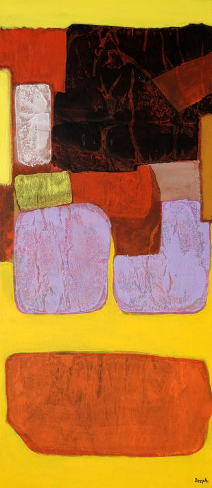 Yellow by Deepali S, Abstract Painting, Acrylic on Canvas, Orange color