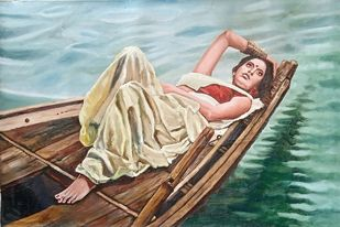 Lady on a boat by Sreenivasa Ram Makineedi, Illustration Painting, Oil on Canvas, Silver color