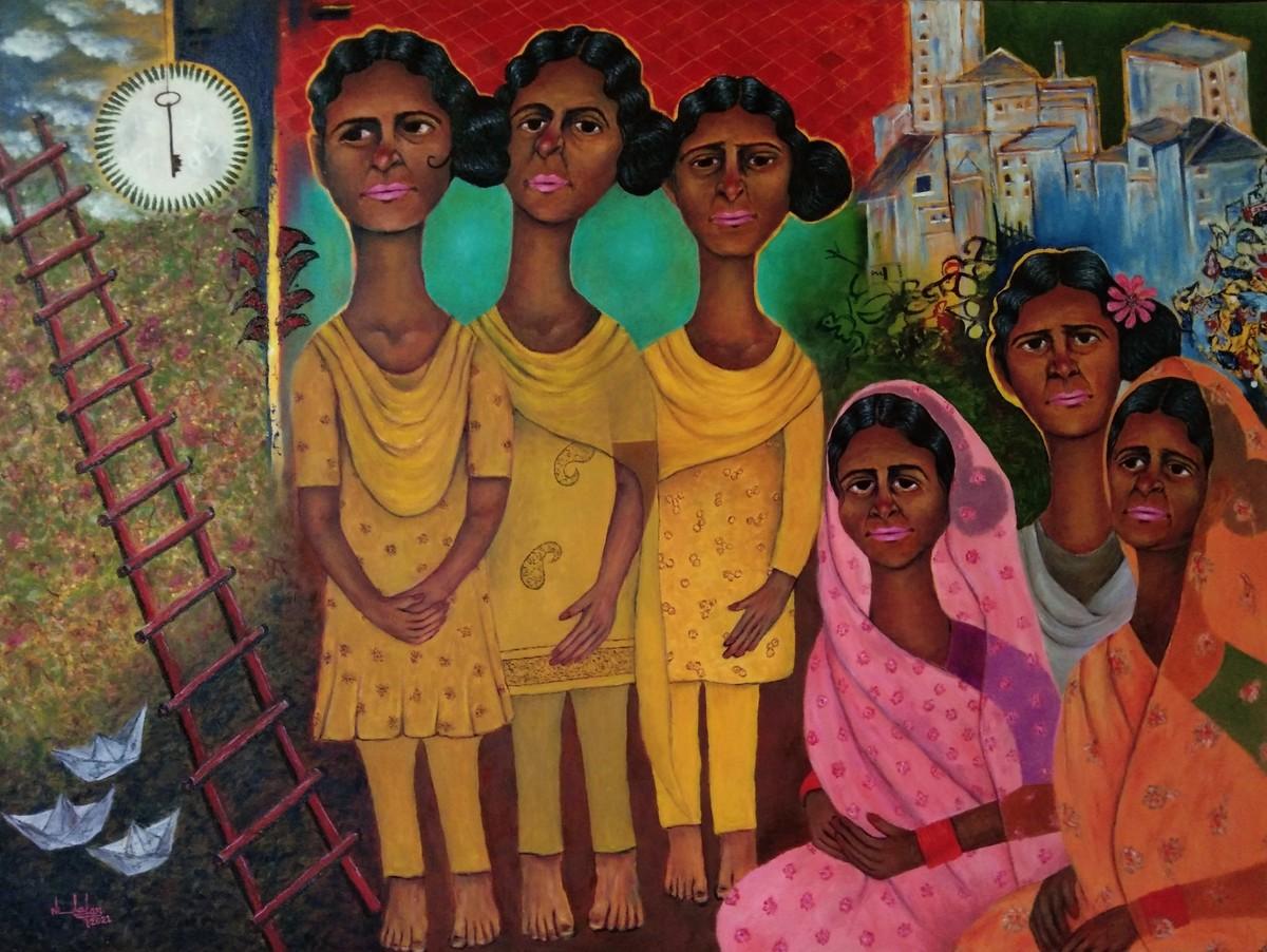 Group of Ladies by Nilofar Ansari, Pop Art Painting, Oil on Canvas, Orange color