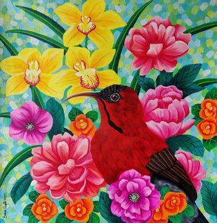 Summer Splendour by Sreya Gupta, Illustration Painting, Acrylic on Canvas, Silver color