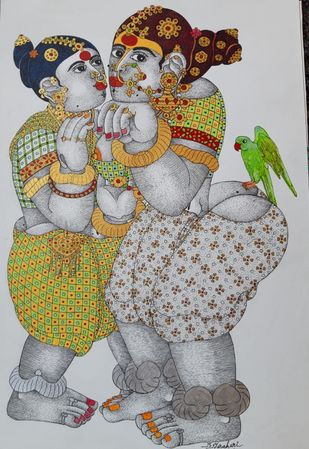 Rural Women with parrot by Narahari Bhawandla, Expressionism Painting, Acrylic on Paper, Silver color