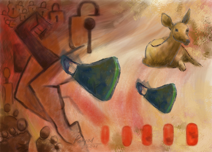 Red Attack S1P1 by Pranjal Bhuyan, Conceptual Digital Art, Digital Print on Canvas, Orange color