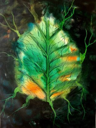 smoking leaves by sapna anand, Expressionism Painting, Acrylic & Ink on Canvas, Black color