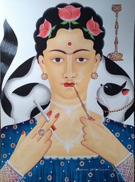 Kali-Kahlo with hookah, cigarette & cat by Bhaskar Chitrakar, Traditional Painting, Natural colours on paper, Silver color