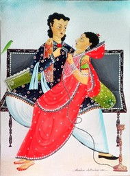Babu-Bibi on sofa with hookah and parrot by Bhaskar Chitrakar, Traditional Painting, Natural colours on paper, Silver color