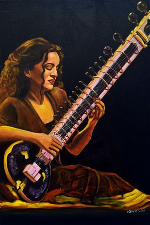 Sound of Soul by Asha Shetty, Illustration Painting, Acrylic on Canvas, Black color