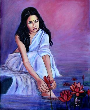 Tranquil by Asha Shetty, Illustration Painting, Acrylic on Canvas, Navy color