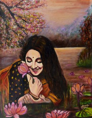 Bliss by Asha Shetty, Expressionism Painting, Acrylic on Canvas, Olive color