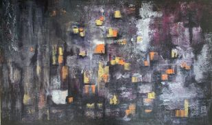 View from my window by sapna anand, Abstract Painting, Acrylic on Canvas, Gray color